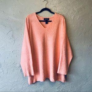 Denim &Co Orange Chenille Sweater NWOT
